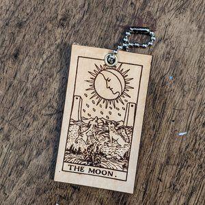 The Moon Tarot Card Leather Keychain